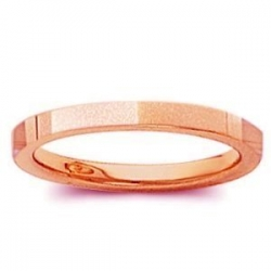 14k Rose Gold 2mm Flat Satin Finish Wedding Band