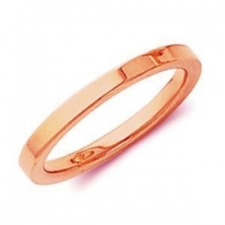 14k Rose Gold 2mm Flat Polish Finish Wedding Band