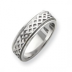 14k White Gold 6 75mm Fancy Wedding Band