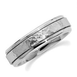 14k White Gold 6mm Fancy Wedding Band with Hammer Finish