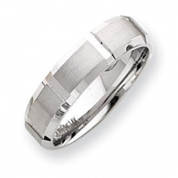14k White Gold 6mm Fancy Wedding Band