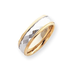 14k Two Tone Gold 7mm Fancy Wedding Band