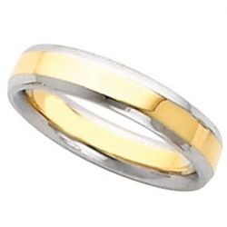 14k Two Tone 5mm Domed Wedding Band