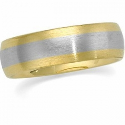 14k Two Tone 6mm Domed Satin Finish Wedding Band