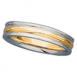 14k Two Tone 4mm Ridged Wedding Band