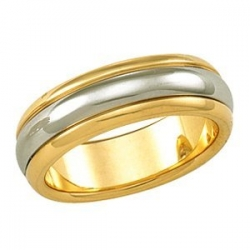 14k Two Tone 6mm Ridged Wedding Band