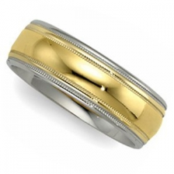 14k Two Tone 5mm Milgrained Edged Wedding Band