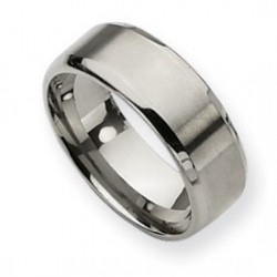 Titanium Beveled Edge 8mm Brushed and Polished Wedding Band