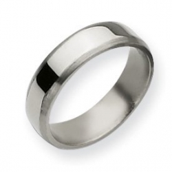 Titanium Beveled Edge 6mm Brushed and Polished Wedding Band