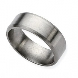 Titanium 8mm Brushed Top Bevel Wedding Band