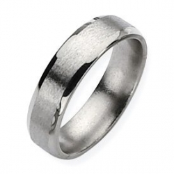 Titanium Beveled Edge 6mm Satin and Polished Band