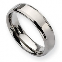 Titanium Beveled Edge 6mm Polished Band