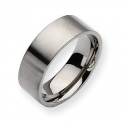 Titanium 8mm Brushed Flat Wedding Band