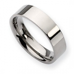 Titanium Polished Flat 6mm Wedding Band