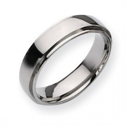 Titanium Polished Ridged Edge 6mm Wedding Band