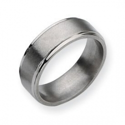Titanium Ridged Edge 8mm Brushed and Polished Wedding Band