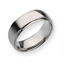 Titanium Polished Ridged Edge 8mm Wedding Band