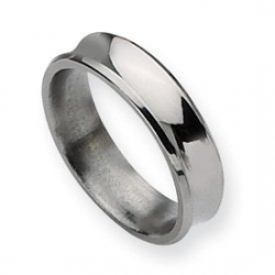 Titanium Concave 6mm Polished Wedding Band