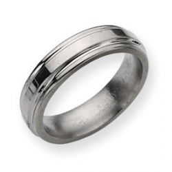 Titanium Grooved Edge 6mm Polished Wedding Band