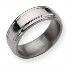 Titanium Grooved Edge 8mm Polished Wedding Band