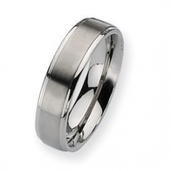 Titanium Ridged Edge 6mm Brushed and Polished Wedding Band