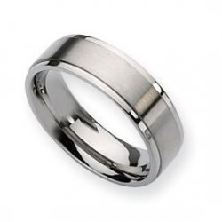 Titanium Ridged Edge 7mm Brushed and Polished Wedding Band