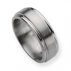 Titanium Grooved Edge 8mm Brushed and Polished Wedding Band