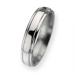 Titanium Ridged Edge 5mm Polished Wedding Band