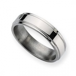 Titanium Ridged Edge 6mm Polished Wedding Band