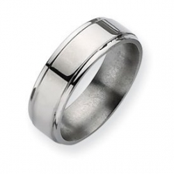 Titanium Ridged Edge 7mm Polished Wedding Band