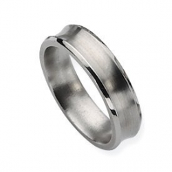 Titanium Concave 6mm Brushed Wedding Band