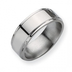 Titanium Ridged Edge 8mm Polished Wedding Band