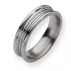Titanium Grooved and Beaded 6mm Polished Wedding Band