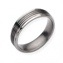 Titanium Grooved 6mm Brushed and Wedding Band