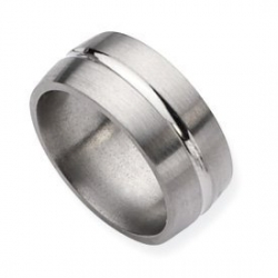 Titanium Grooved 10mm Satin and Polished Wedding Band