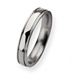 Titanium Grooved and Beaded 4mm Polished Wedding Band