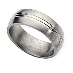 Titanium Grooved 8mm Brushed and Polished  Wedding Band