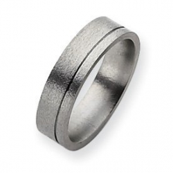 Titanium Grooved 6mm Satin and Polished Wedding Band