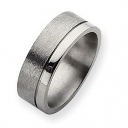 Titanium Grooved 8mm Satin and Polished Wedding Band