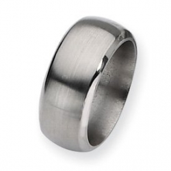 Titanium Beveled Edge 10mm Satin and Polished Wedding Band