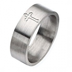 Titanium Flat Cross 8mm Satin Wedding Band