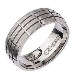 Titanium Grooved 8mm Satin Wedding Band