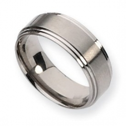 Titanium Ridged Edge 8mm Satin and Polished Wedding Band