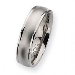 Titanium Ridged Edge 6mm Satin and Polished Wedding Band