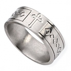 Titanium Cross Design Flat 8mm Satin Wedding Band