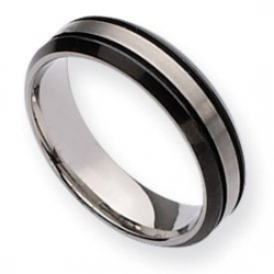 Titanium Two tone Grooved 6mm Brushed and Polished Wedding Band
