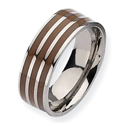 Titanium Brown Enamel Flat 8mm Polished Wedding Band