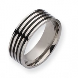 Titanium Black Enamel Flat 8mm Polished Wedding Band
