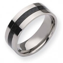 Titanium Black Enameled 8mm Polished Wedding Band