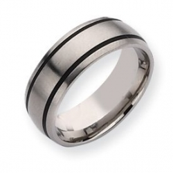 Titanium Black Accent 8mm Brushed Wedding Band